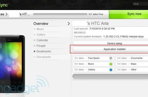 Confirmed: HTC Sync lets tethered AT&T Aria sideload apps