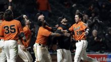 Giants walk-off celebration took painful turn for rookie