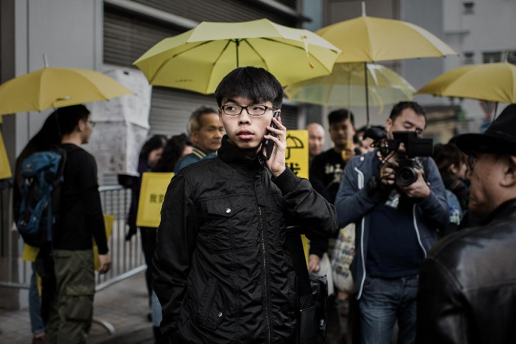 Hong Kong student leader Joshua Wong was on May 26, 2015, refused admission to Malaysia, where he planned to speak about the city's pro-democracy movement (AFP Photo/Philippe Lopez)