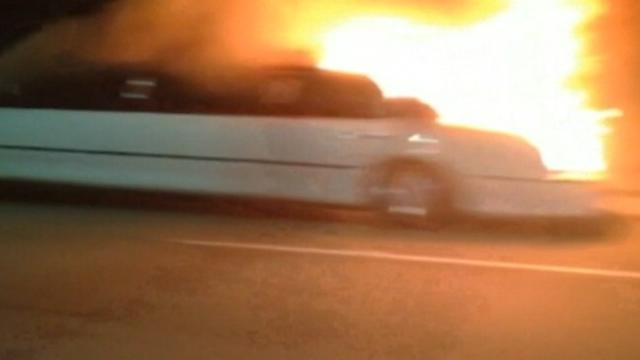 Limo Bursts In Flames Killing Bride, Bridesmaids