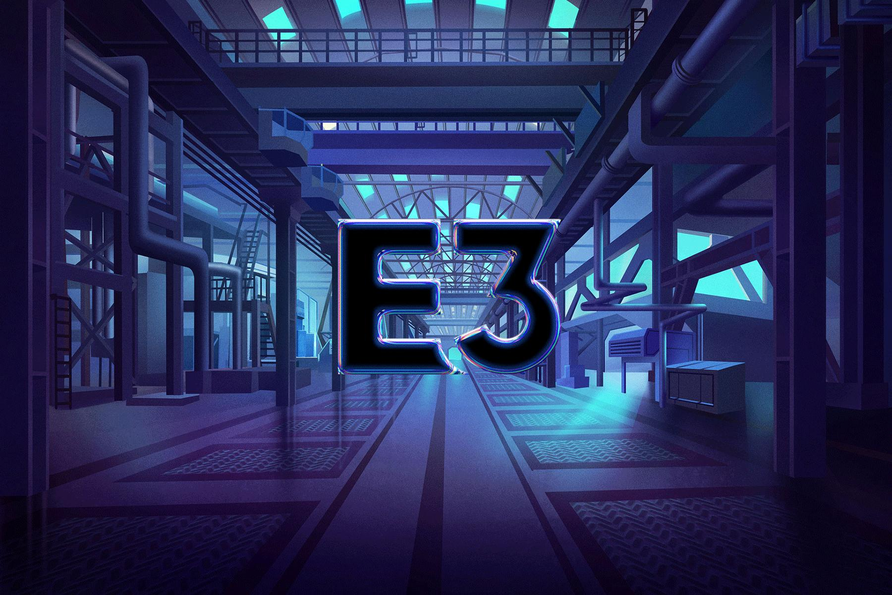 An animation showing screenshots of closed captions from E3's livestream popping up one after another against a backdrop featuring the E3 logo in a graphically rendered factory-like space.