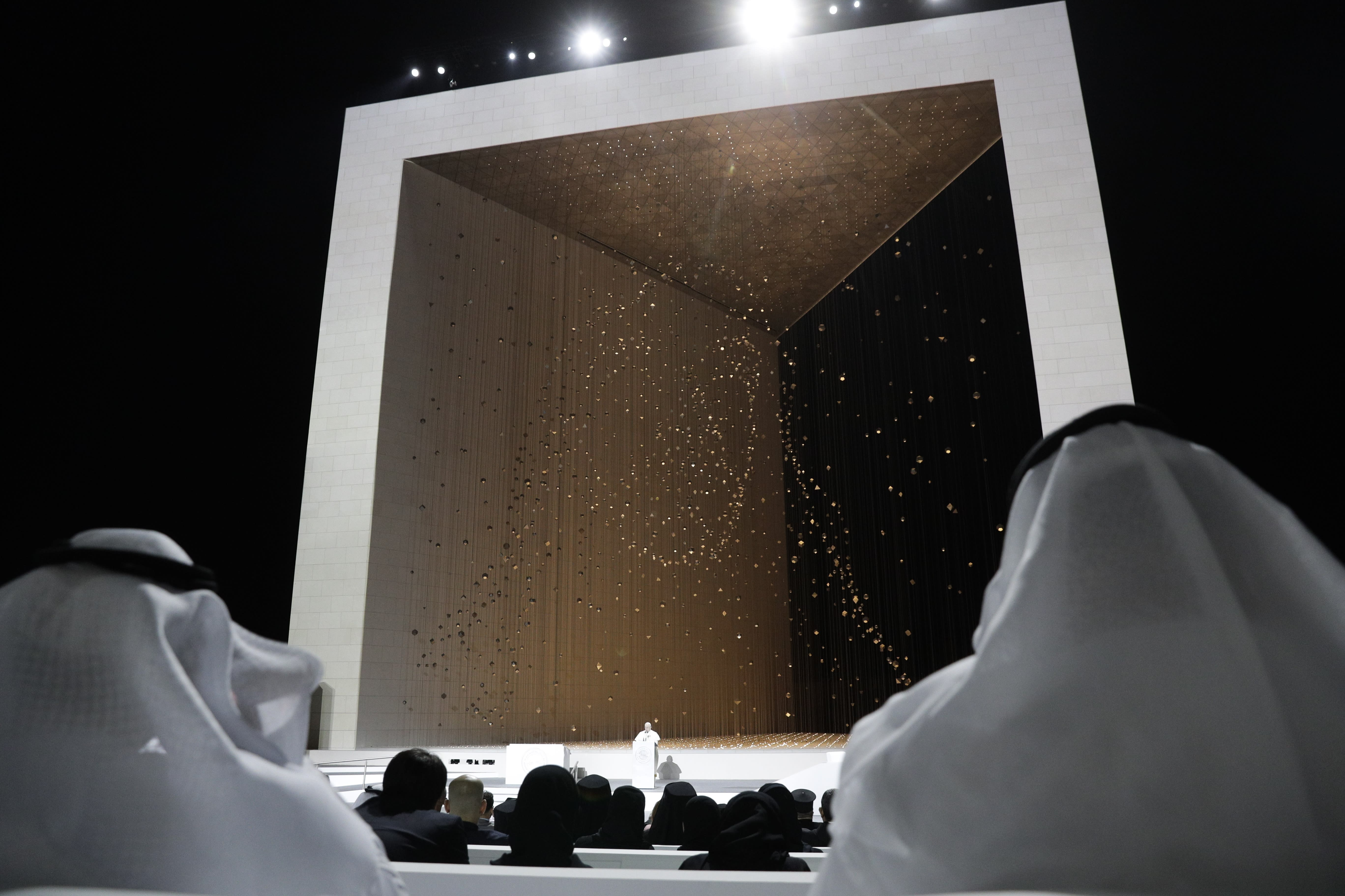 Pope Francis speaks during an Interreligious meeting at the Founder's Memorial in Abu Dhabi, United Arab Emirates, Monday, Feb. 4, 2019. Pope Francis arrived in Abu Dhabi on Sunday. His visit represents the first papal trip ever to the Arabian Peninsula, the birthplace of Islam. (AP Photo/Andrew Medichini)