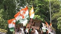 DPYC protests against BJP's demand for PM's resignation