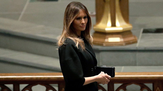Melania Trump, Obamas, Clintons attend Bush funeral