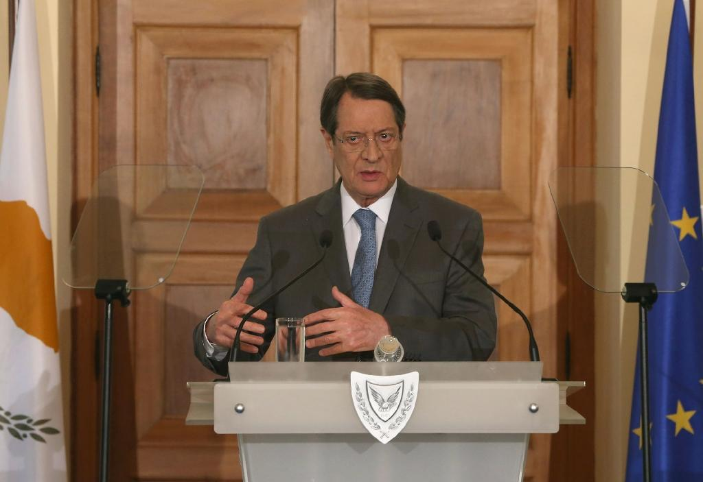 Picture released by the Cypriot government's Press Information Office shows Cypriot President Nicos Anastasiades giving a press conference on the economy at the Presidential Palace in Nicosia on April 3, 2015 (AFP Photo/Christos Avraamides)