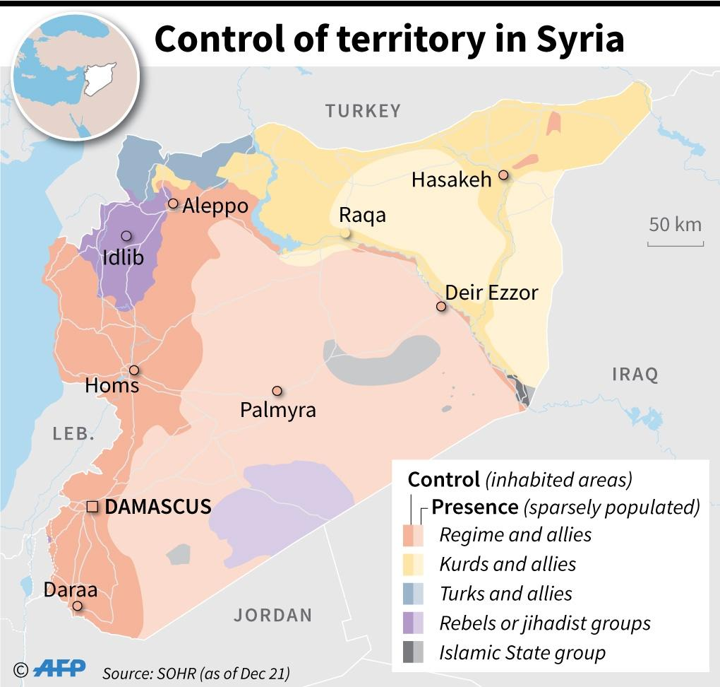 Territory control in Syria, as of December 21 (AFP Photo/)