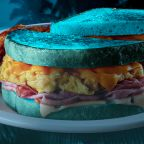 Denny's Is Selling A Breakfast Sandwich Made With Bright Blue Bread In Honor Of This Halloween's Blue Moon