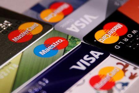 View shows various credit cards