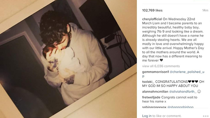 Baby joy for former X Factor judge Cheryl andOne Direction star Liam Payne