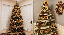 Árvore de Natal decorada com girassóis é tendência; inspire-se