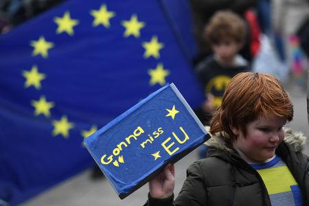 Protesters participate in an anti-Brexit demonstration at City Hall in central Belfast