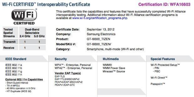 WiFi Alliance certificate teases Tizen flavored Samsung Galaxy S III