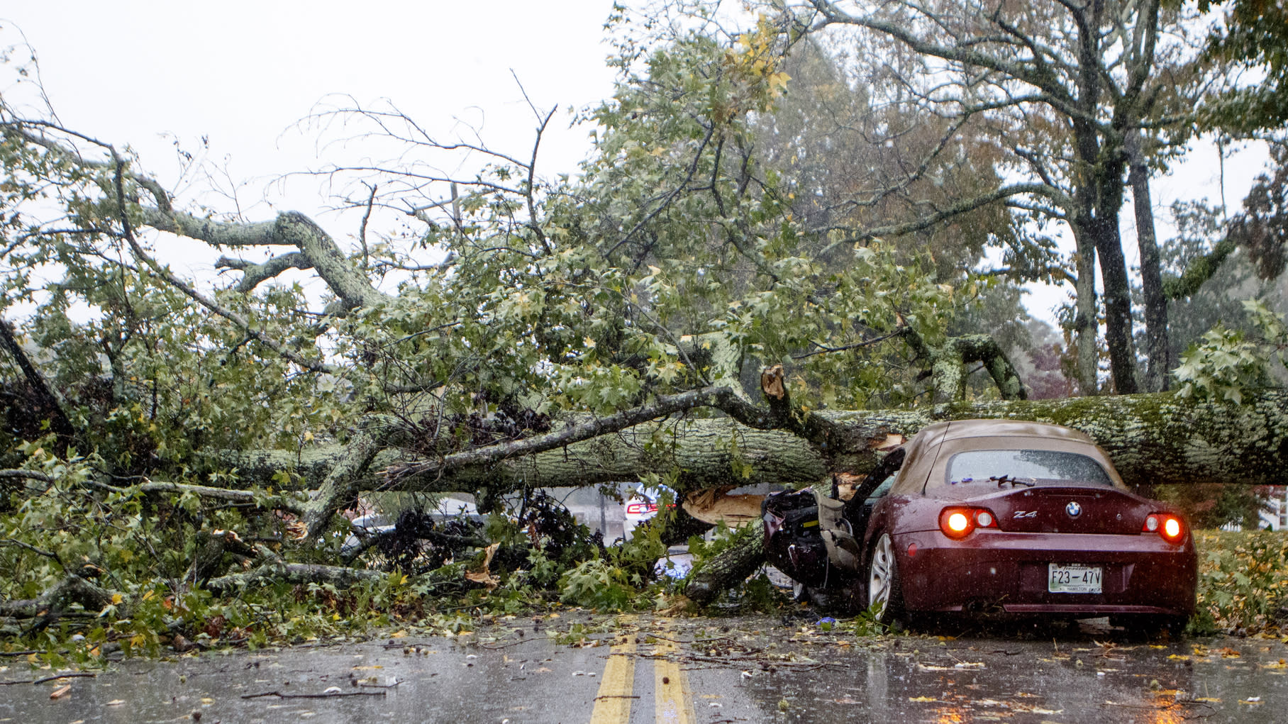 Staff photo by C.B. Schmelter / A downed tree is seen on top of a car along Belvoir Avenue on Thursday, Oct. 31, 2019 in Chattanooga, Tenn. An East Ridge police officer on the scene said that the driver of the crushed vehicle was perfectly OK after the accident and was not taken to the hospital. The fallen tree blocked traffic and knocked electricity out for a large part of East Ridge, Tenn. (C.B. Schmelter/Chattanooga Times Free Press via AP)