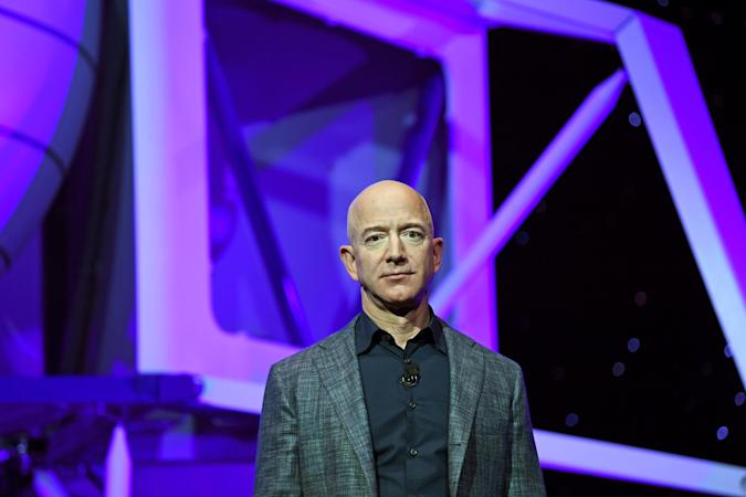 Bezos on stage at a Blue Origin event.
