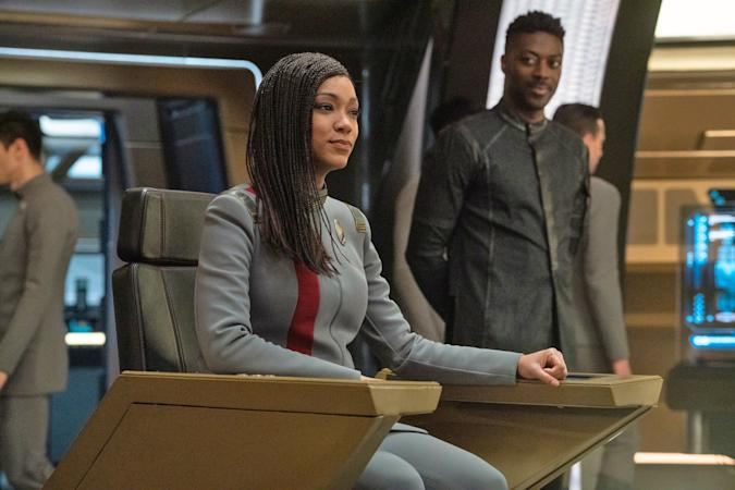 The captain sits in her chair in this still from Star Trek: Discovery.