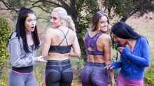 Two of these women aren't wearing leggings — can you tell which?