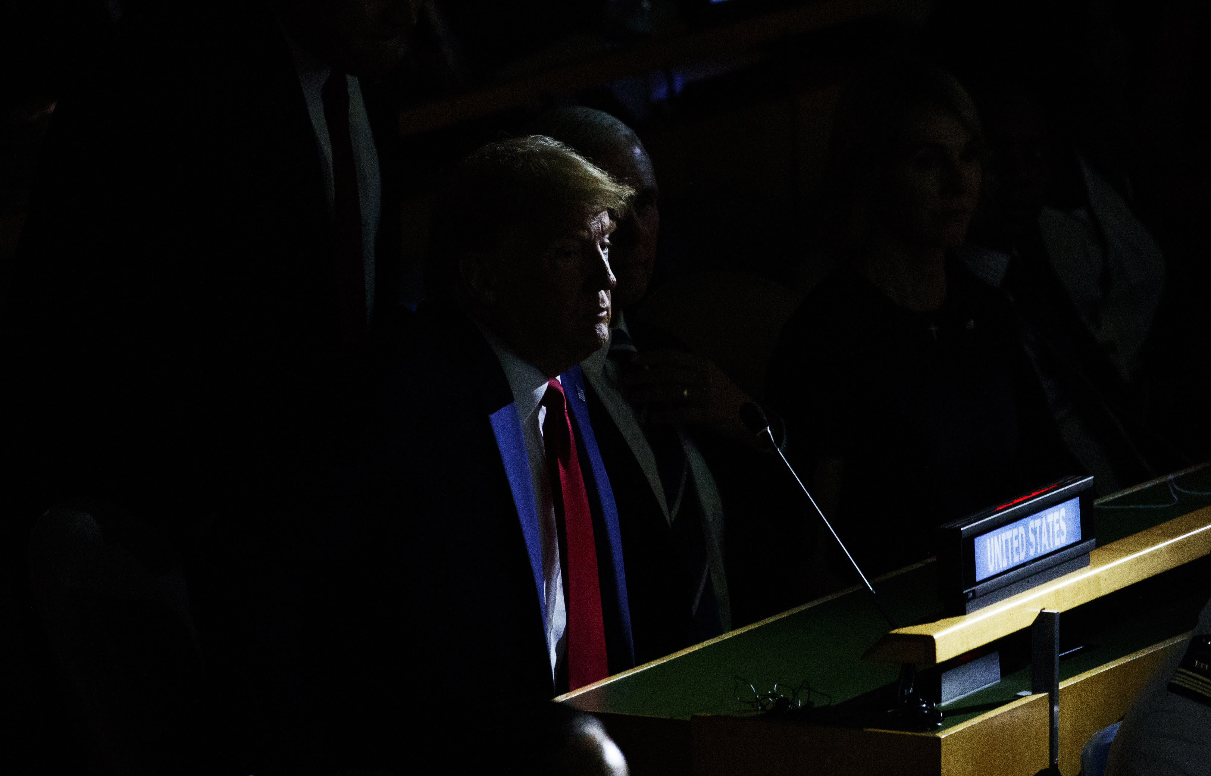 President Donald Trump listens during the the United Nations Climate Action Summit during the General Assembly at U.N. headquarters on Monday, Sept. 23, 2019. World leaders are convening at the annual U.N. General Assembly. They're grappling with climate change, regional conflicts and a potential dispute in the Middle East that could impact the entire planet. U.N. Secretary-General Antonio Guterres will open the proceedings. He'll be followed immediately by the traditional first speaker, Brazil, represented by its new president, Jair Bolsonaro, and the United States, represented by Trump. (AP Photo/Evan Vucci)