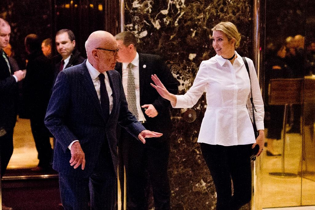 Ivanka Trump and Rupert Murdoch leave Trump Tower in New York (AFP Photo/Dominick Reuter)