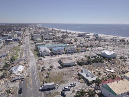 Aerial photo shows damaged and destroyed homes after Hurricane Michael smashed into Florida's northwest coast in Mexico Beach, Florida, U.S., October 12, 2018. REUTERS/Dronebase