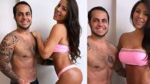 Thammy e Andressa exibem menos 22kg do casal de sunga e biquíni