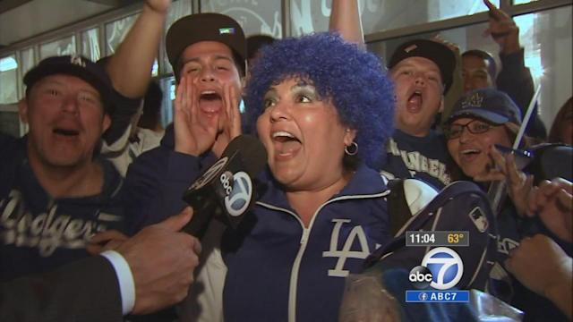 Dodger fans celebrate after NLDS win