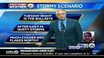Line of severe weather possible on Tuesday night