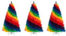 Regenbogen-Weihnachtsbäume bringen in diesem Jahr Farbe in dein Haus