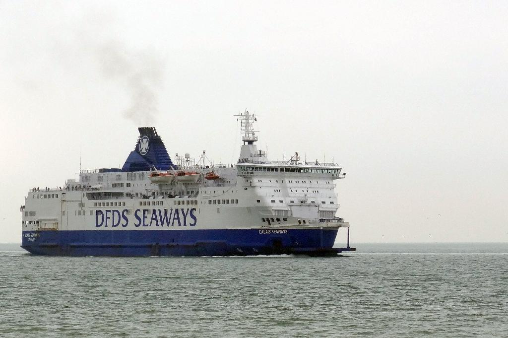 A cross-channel ferry of the British company DFDS Seaways leaves Calais harbour, northern France, for Dover on July 20, 2014