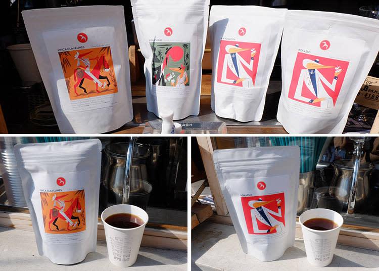 上圖 左至右四種咖啡豆風味|Colombia / Honduras / Kenya / Ethiopia  左下|HAND DRIP HARIO V60 (Colombia)  450日圓 右下|HAND DRIP HARIO V60 (Ethiopia)  450日圓