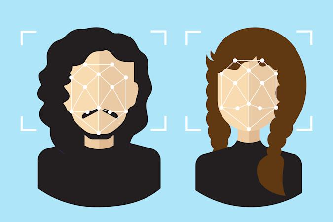 Face detection, digital recognition vector illustration. Facial points, biometric identification signs, identify symbols with people avatars. Identification technologies and digital detect concept