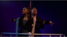 ¡IMPERDIBLE! Ariana Grande y James Corden recrean un musical de Titanic (VIDEO)