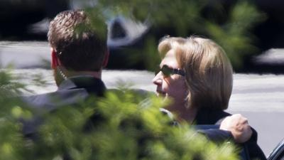 Raw: Hillary Clinton Arrives for Obama Meeting
