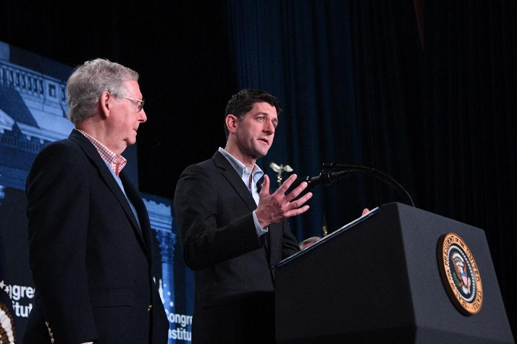 US House Speaker Paul Ryan (R) and Senate Majority Leader Mitch McConnell are contending with a large to-do list that includes striking a deal with Democrats on immigration, funding the government and raising the debt ceiling (AFP Photo/JIM WATSON )