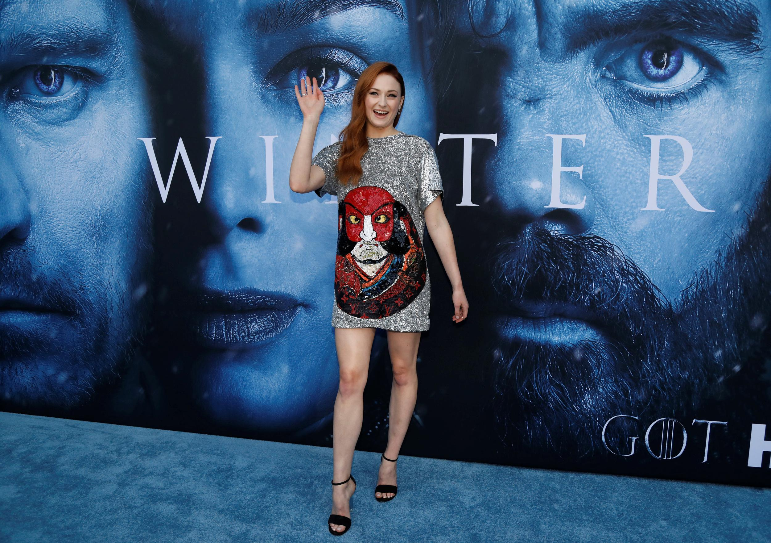 """Cast member Sophie Turner poses at a premiere for season 7 of the television series """"Game of Thrones"""" in Los Angeles, California, U.S., July 12, 2017. REUTERS/Mario Anzuoni"""