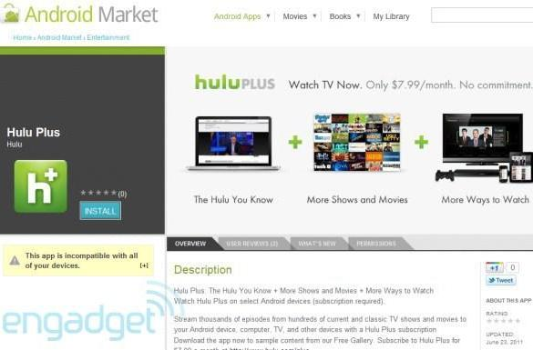 Hulu Plus for Android is available now... for six devices