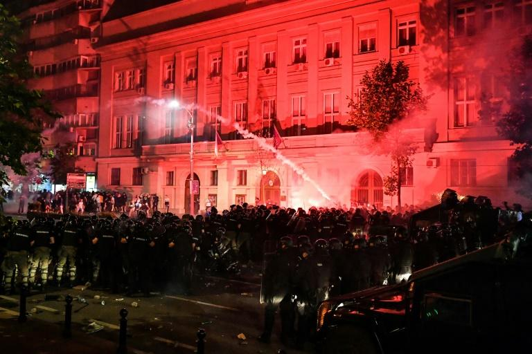 Clouds of tear gas and smoke filled the city centre (AFP Photo/ANDREJ ISAKOVIC)