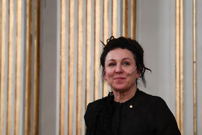 The 2018 winner of the Nobel Literature Prize, Polish writer Olga Tokarczuk, also gave her lecture (AFP Photo/Jonathan NACKSTRAND)