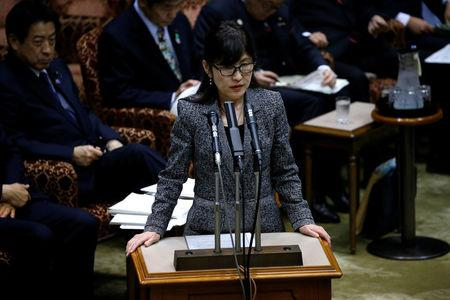 Japan's Defense Minister Tomomi Inada (C) speaks at the upper house parliamentary session after reports on North Korea's missile launches, in Tokyo, Japan, March 6, 2017. REUTERS/Issei Kato