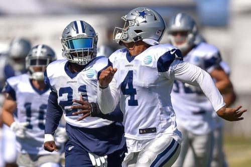 Dak Prescott and Ezekiel Elliott will try to lead Dallas to a second straight NFC East title. (AP)