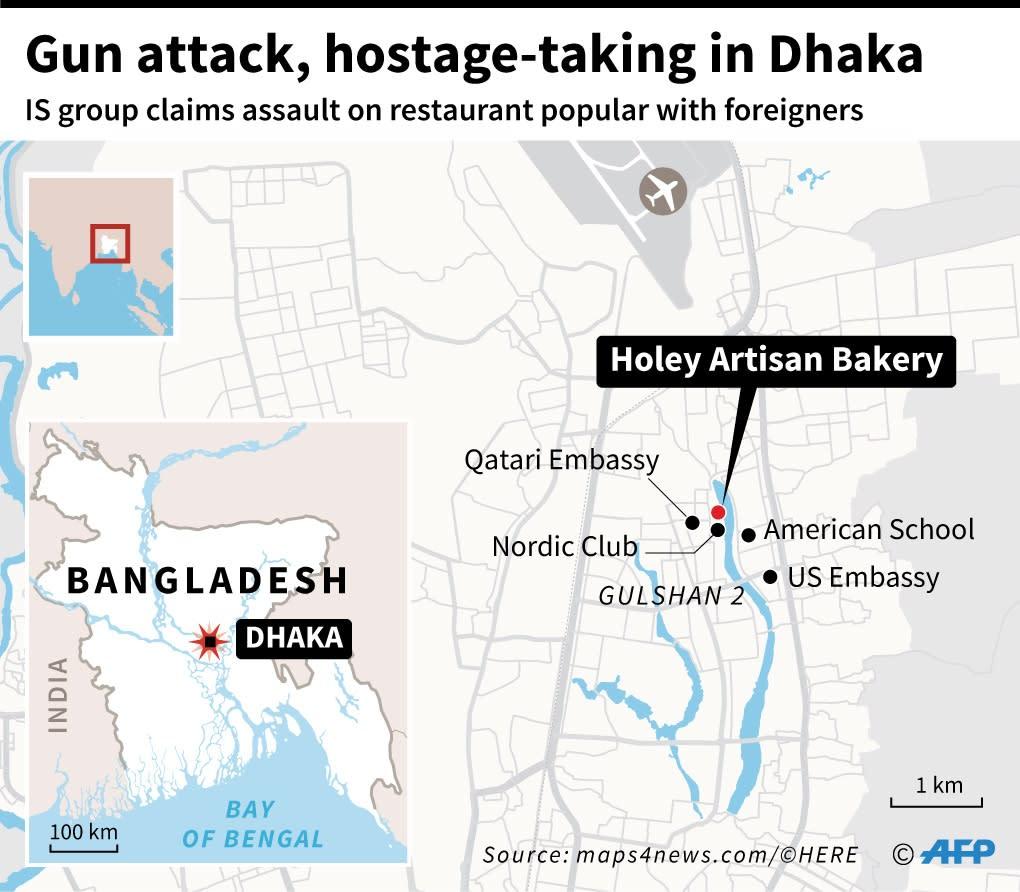 Gunmen targeted an upmarket cafe in the Gulshan 2 area of Dhaka (AFP Photo/Paz Pizarro)