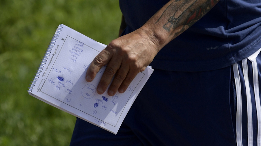 Argentina coach Jorge Sampoli's notebook reveals team plans - just days after England line-up is leaked