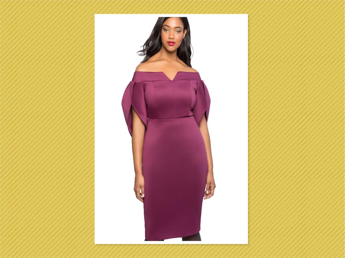 "<p>Tulip Sleeve Off-the-Shoulder Dress, $111, <a href=""https://www.eloquii.com/tulip-sleeve-off-the-shoulder-dress/1235454.html"" rel=""nofollow noopener"" target=""_blank"" data-ylk=""slk:Eloquii"" class=""link rapid-noclick-resp"">Eloquii</a> (Photo: Eloquii) </p>"