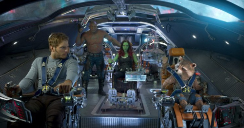 The Guardians: Star-Lord (Chris Pratt), Drax (Dave Bautista), Gamora (Zoe Saldana), Groot (Vin Diesel), and Rocket (Bradley Cooper)