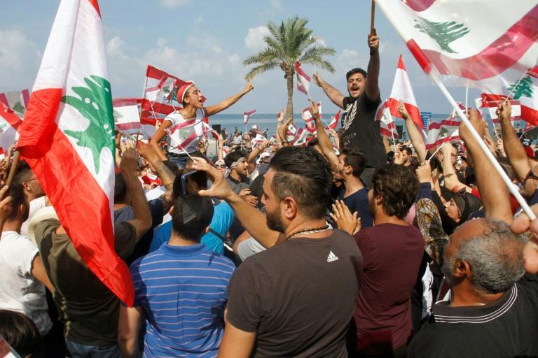 Even in the southern city of Tyre where Hezbollah and its political affiliate the Amal Movement hold sway, there were large protests against Lebanon's dire economic conditions (AFP Photo/Mahmoud ZAYYAT)