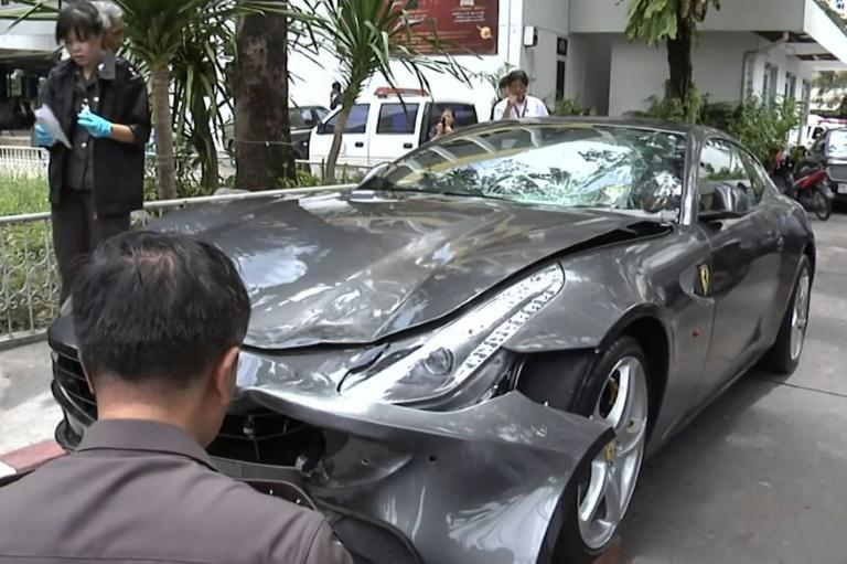 Red Bull heir Vorayuth 'Boss' Yoovidhya will be prosecuted for reckless driving over a fatal hit-and-run after crashing his Ferrari (pictured being inspected by police in 2012)
