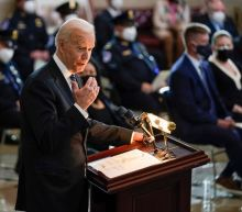 Biden picks up toy of slain Capitol officer's daughter during emotional memorial service