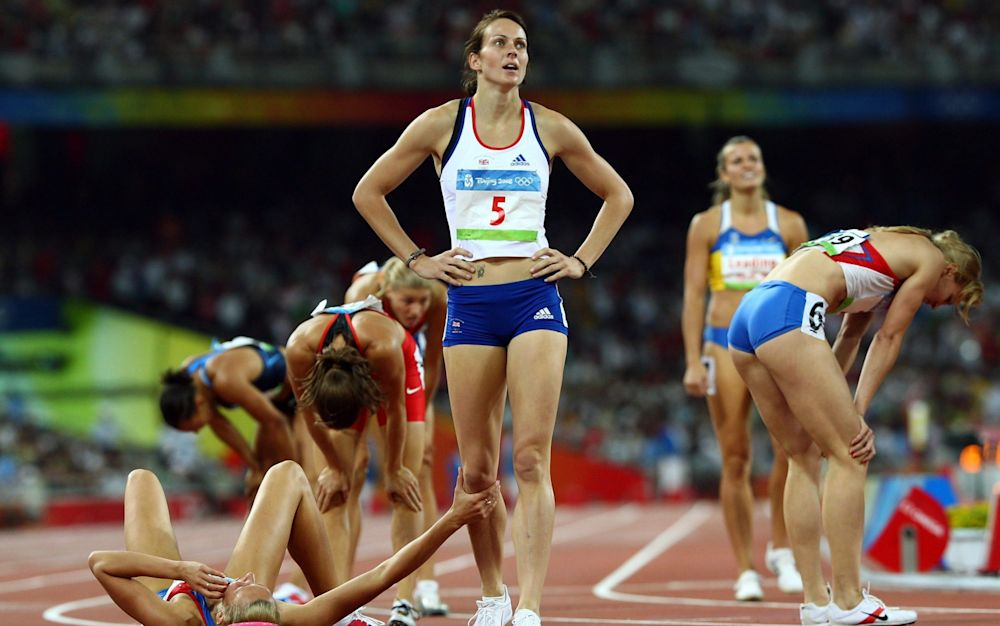 Kelly Sotherton looks on at the Beijing Games in 2008 - Getty Images Sport