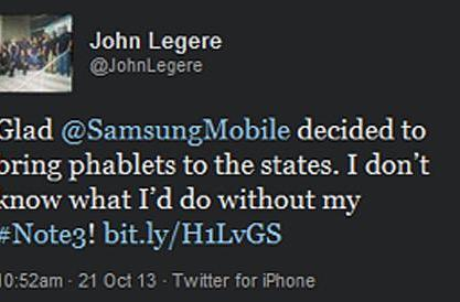 T-Mobile CEO uses his iPhone to tweet praise for Galaxy Note 3