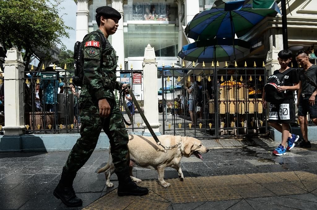 A Thai soldier with a sniffer dog walks past Erawan Shrine, a popular tourist destination that was the site of a bomb attack almost one year ago, in Bangkok, on August 12, 2016 (AFP Photo/Lillian Suwanrumpha)
