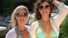 Elizabeth Hurley, 55, and friend twinning in same blue bikini